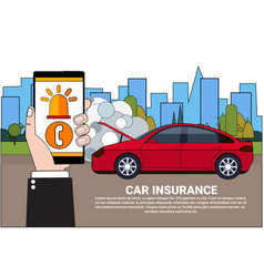 driver holding smart phone order insurance service vector image