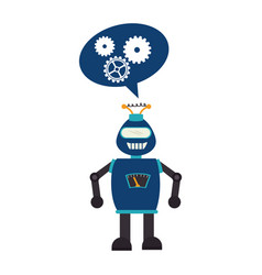 Electronic robot with speech bubble card icon vector