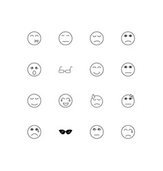 emoticons linear thin icons set outlined simple vector image