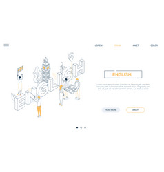 english language - line design style isometric web vector image