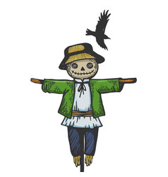 Farm rural scarecrow sketch engraving vector