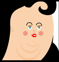 fat woman face plump person very thick girl avatar vector image