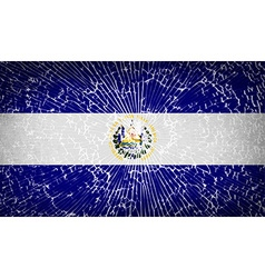 Flags El Salvador with broken glass texture vector