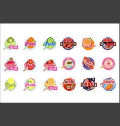 flat set of stickers for fruit and vector image