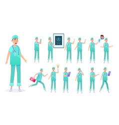 Flat surgeon doctor animation creation set vector