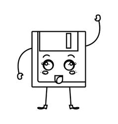 Floppy disk kawaii character vector