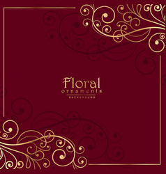 floral ornamental decoration on red background vector image