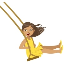 Girl In Yellow Dress On Rope Swings vector