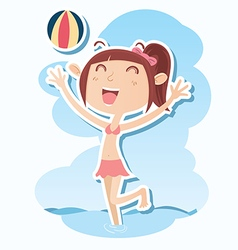 girl play on the beach vector image