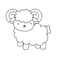 goat cartoon farm animal isolated icon on white vector image