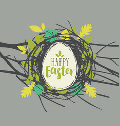 Greeting card with easter egg in a birds nest vector