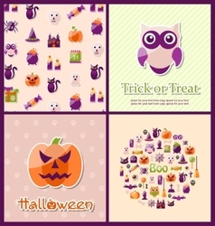 Halloween Postcards Set Banners vector