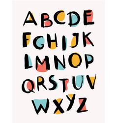 hand drawn letters stylish alphabet trendy abc vector image