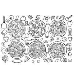 hand drawn pizza set vector image