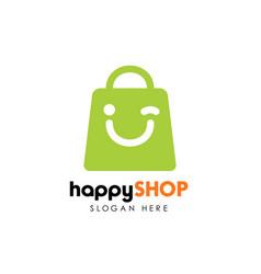 Happy shop logo design template shopping logo vector