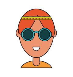 Hippie man icon vector