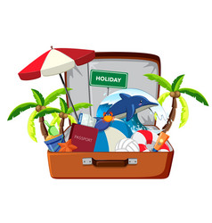 holiday element in luggage vector image