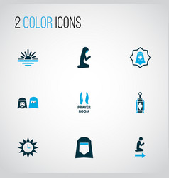 Holiday icons colored set with azan man human vector