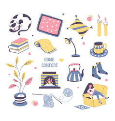 Home comfort things icons vector