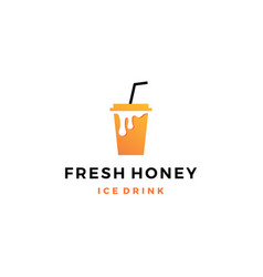 Honey ice tea cup bubble drink logo icon label vector