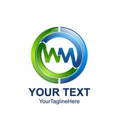 initial letter wm logo template colored blue vector image