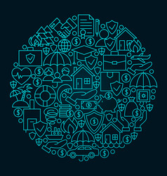 Insurance line icon circle concept vector