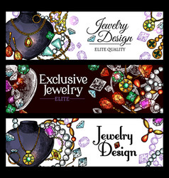 Jewelry and luxury fashion jewel banners vector