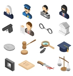 Justice Isometric Color Icon Set vector