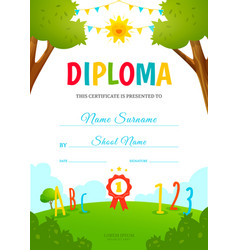 Kids diploma template vector