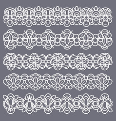 lace borders seamless vintage cotton lace eyelets vector image