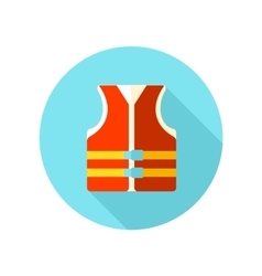 Life jacket flat icon with long shadow vector
