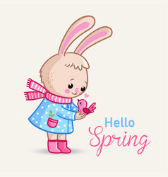 little bunny holds a pink bird in her hands vector image