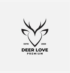 Love sign and deer animals modern line logo design vector