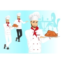 Male chef with christmas roasted turkey vector