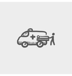 Man and ambulance car sketch icon vector