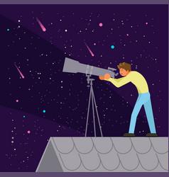 Man watching night sky flat vector