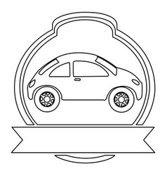 Monochrome contour of sport car in heraldic round vector