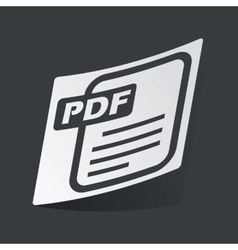 Monochrome PDF file sticker vector