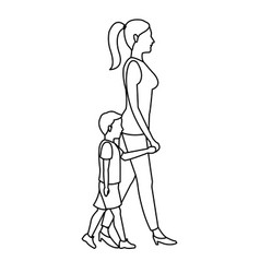mother and her son walking together outline vector image