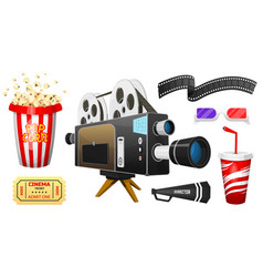 movie elements set vintage cinema entertainment vector image