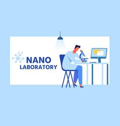 Nano laboratory cartoon ad banner with flat frame vector