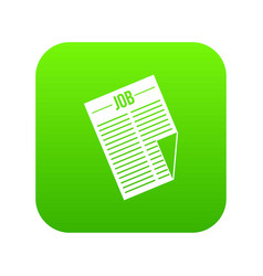newspaper with the headline job icon digital green vector image