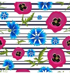 Pattern with PoppiesCornflowers and stripes-01 vector