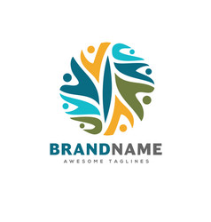 people community colorful logo template vector image