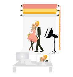 Photostudio with couple love making photo vector