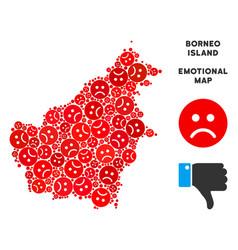 Pitiful borneo island map mosaic of sad vector