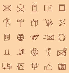 Post line color icons on orange background vector