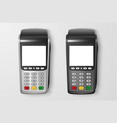Realistic 3d payment machine set pos vector
