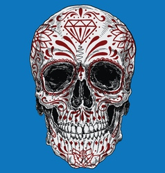 Realistic day dead sugar skull vector