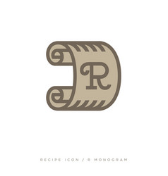Roll of paper logo r monogram recipe emblem vector